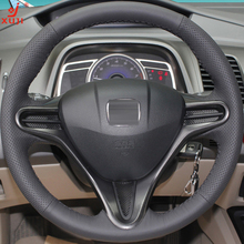 XUJI Black Leather Hand-stitched Car Steering Wheel Cover for Honda Civic Old Civic 2004-2011