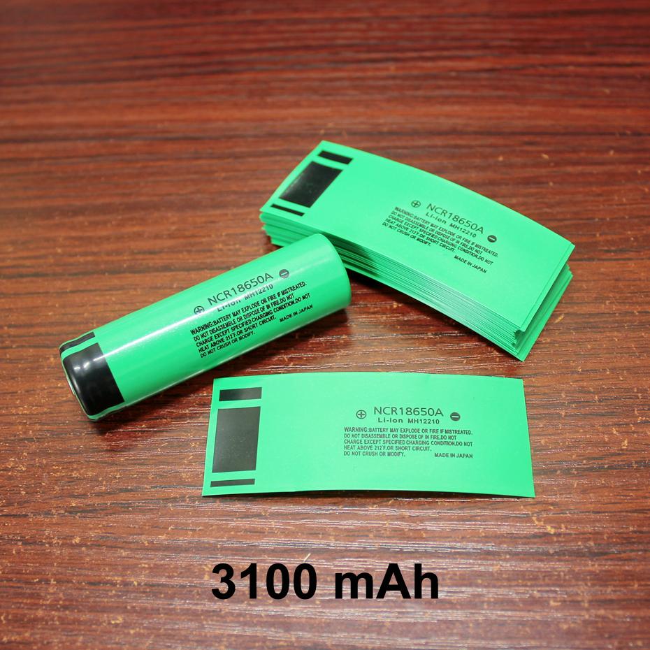 100pcs/lot 18650 lithium battery package casing battery skin PVC heat shrinkable film battery cover 3100MAH