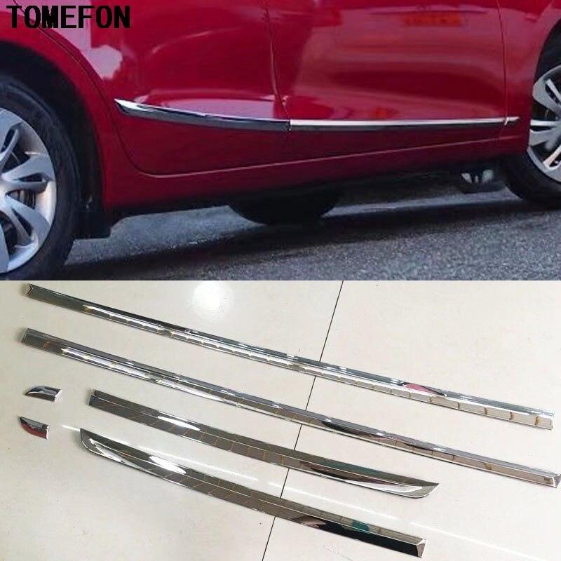 TOMEFON 6 pièces pour Mazda 2 Demio 2015 2016 voiture style Auto ABS Chrome côté porte corps moulage seuil garniture autocollant décoration