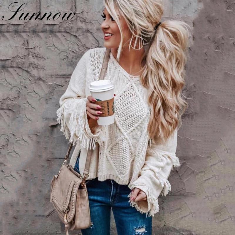 SUNNOW Female Pullover Knitwear Loose Tassel Women Sweater Ladies Tops Long-Sleeve White