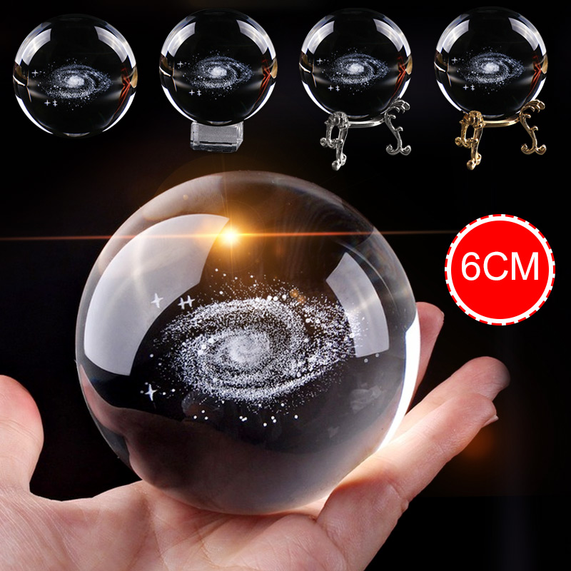 6cm Crystal Ball Milky Way 3D Laser Engraved Quartz Glass Ball Sphere  Globe Galaxy Miniature Home Decoration Accessories Gifts