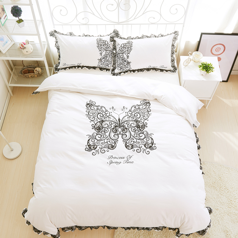 lace white cotton butterfly bedding set 4pcs king queen size girls bed set embroidered duvet cover
