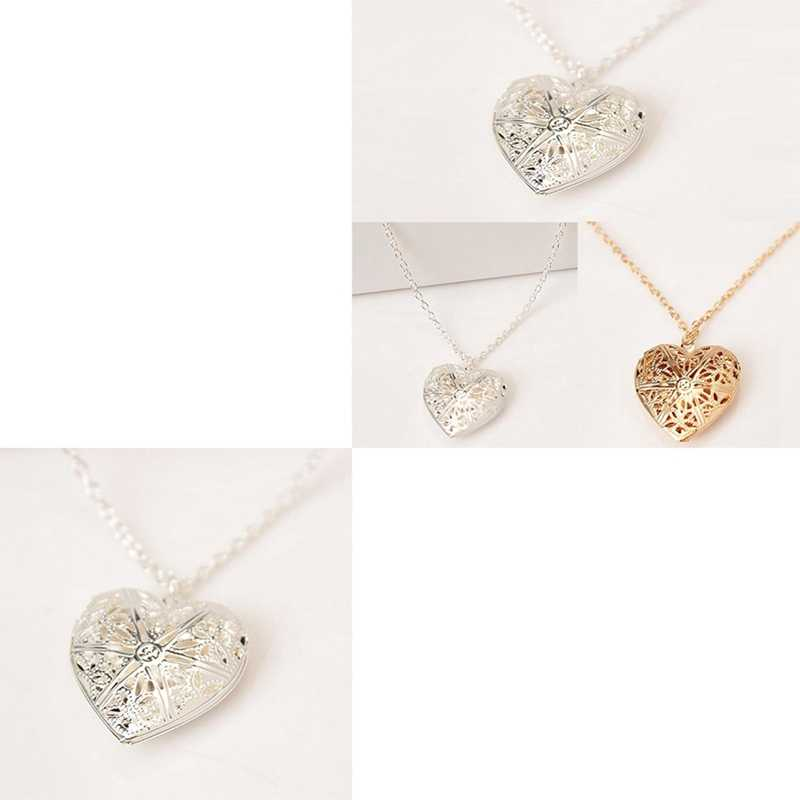 742915da6a ... Hollow Love Heart Locket Necklace Pendant 2 Colors Openable Vintage  Gift For Lover