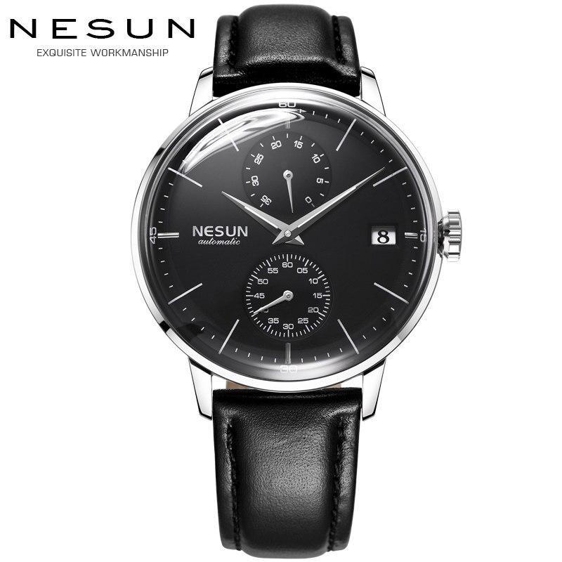 Luxury Brand Men's Watches Nesun Automatic Mechanical Watch Men Sapphire relogio masculino Genuine Leather Strap clock N9606-3