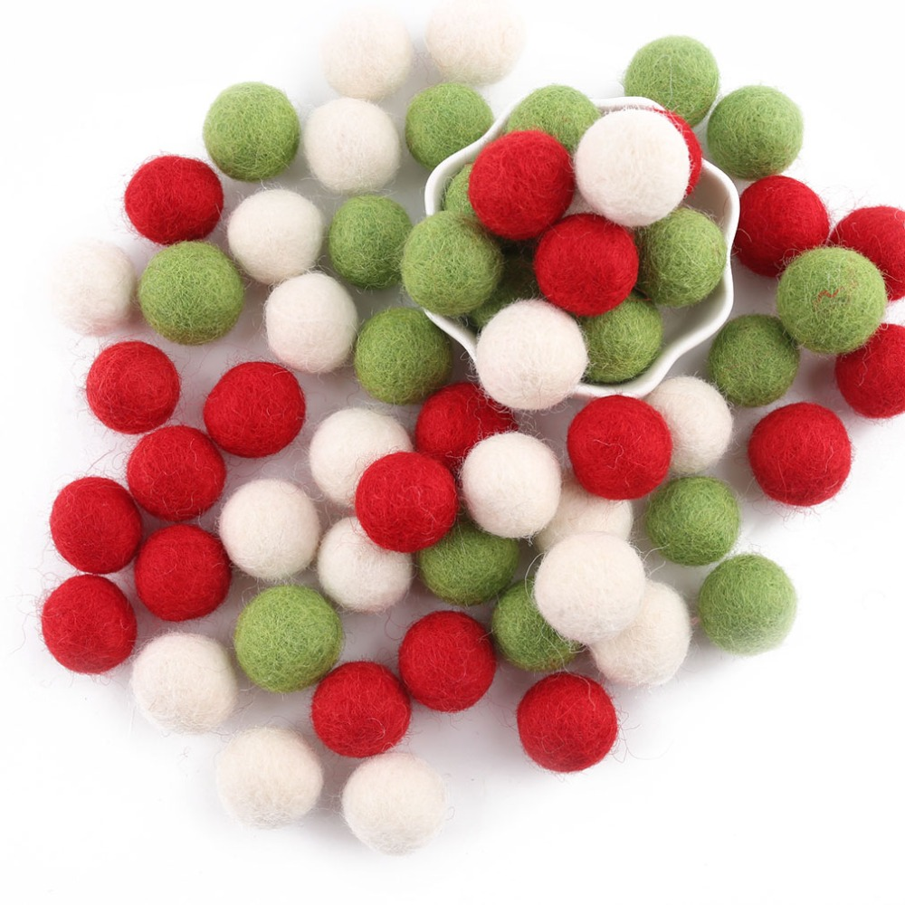 50pcs 2cm Felt Wool Balls Rainbow Wool Beads Decor Room Christmas Gift DIY Colorful Beads Gifts For The New Year Safe Toys