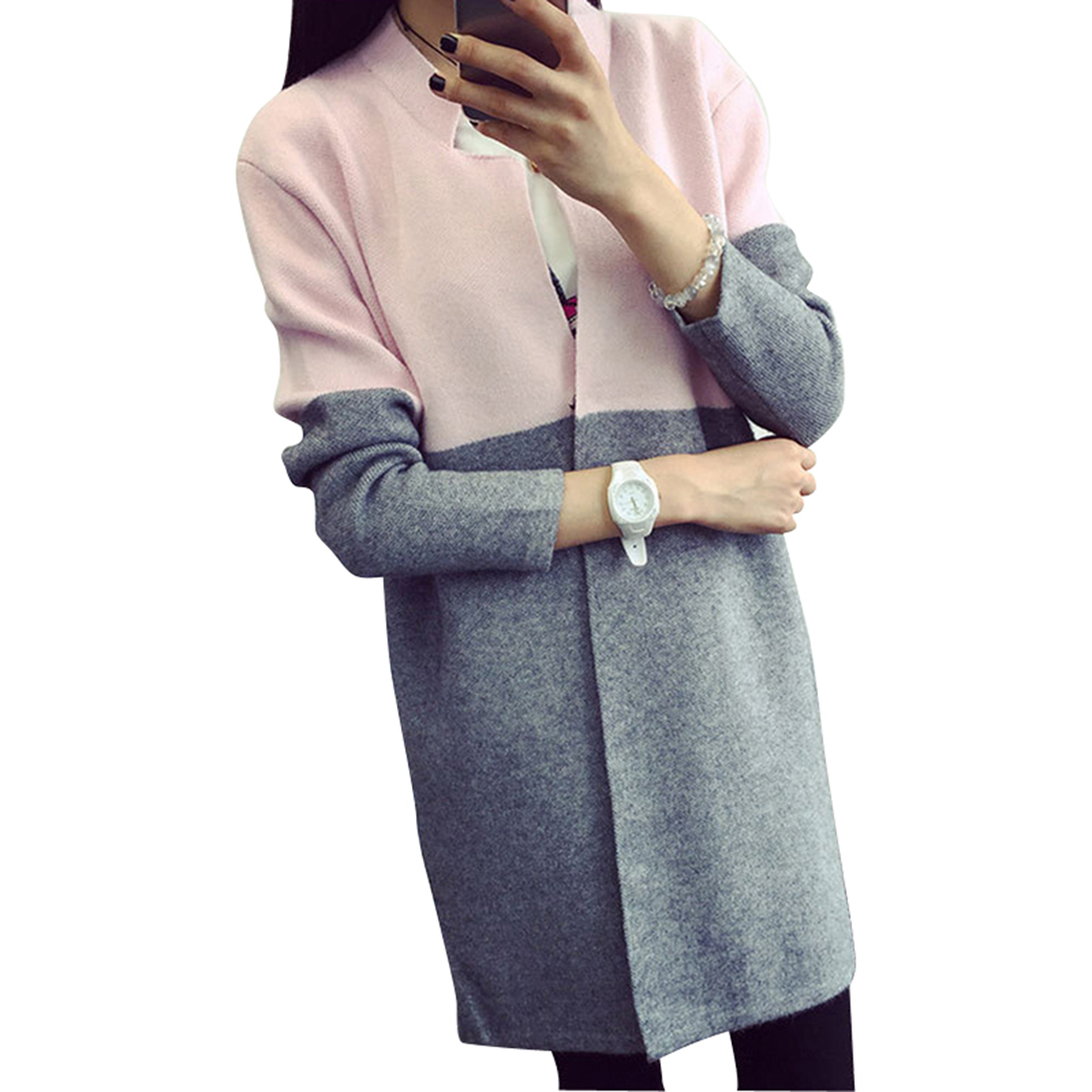 GZ HOUSE Patchwork Long Knitted Sweater Women Long Sleeve Casual ...