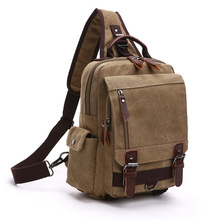 Solid Backpack Fashion New Style Casual Canvas Outdoor Travel Shoulder Chest General Single And Double Shoulder Bag