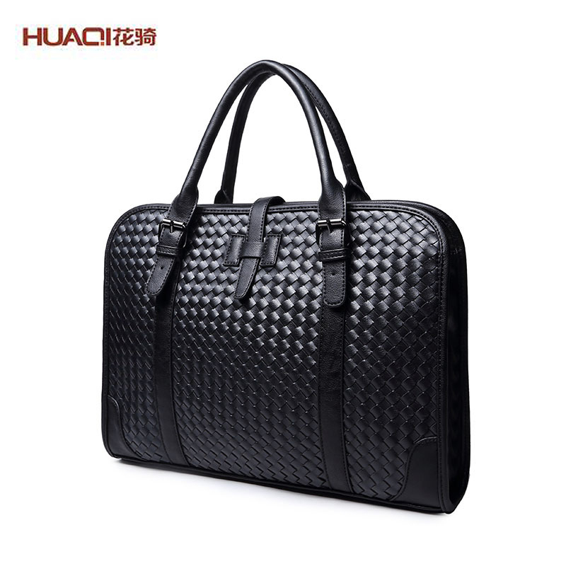 ФОТО 2017 New Arrival Men's Bag PULeather Plaid Knitted Men Shoulder Bags Casual Business Laptop Hand Bags Bolsas Homme HQ4009