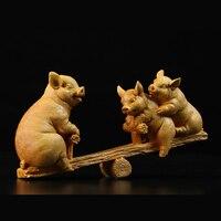 Три поросенка Seesaw статуя детская комната деревянный декор скульптура Buxus sinica buda деревянный ящик статуи для подарка