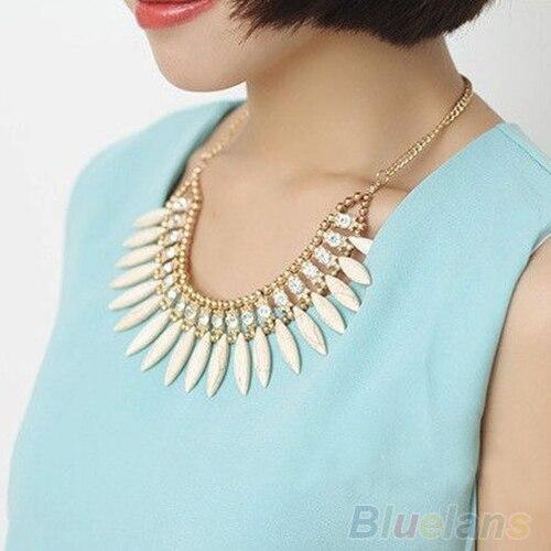 Femmes mode frange goutte rétro belle Occident Style cristal exquis gland collier 01CA 4