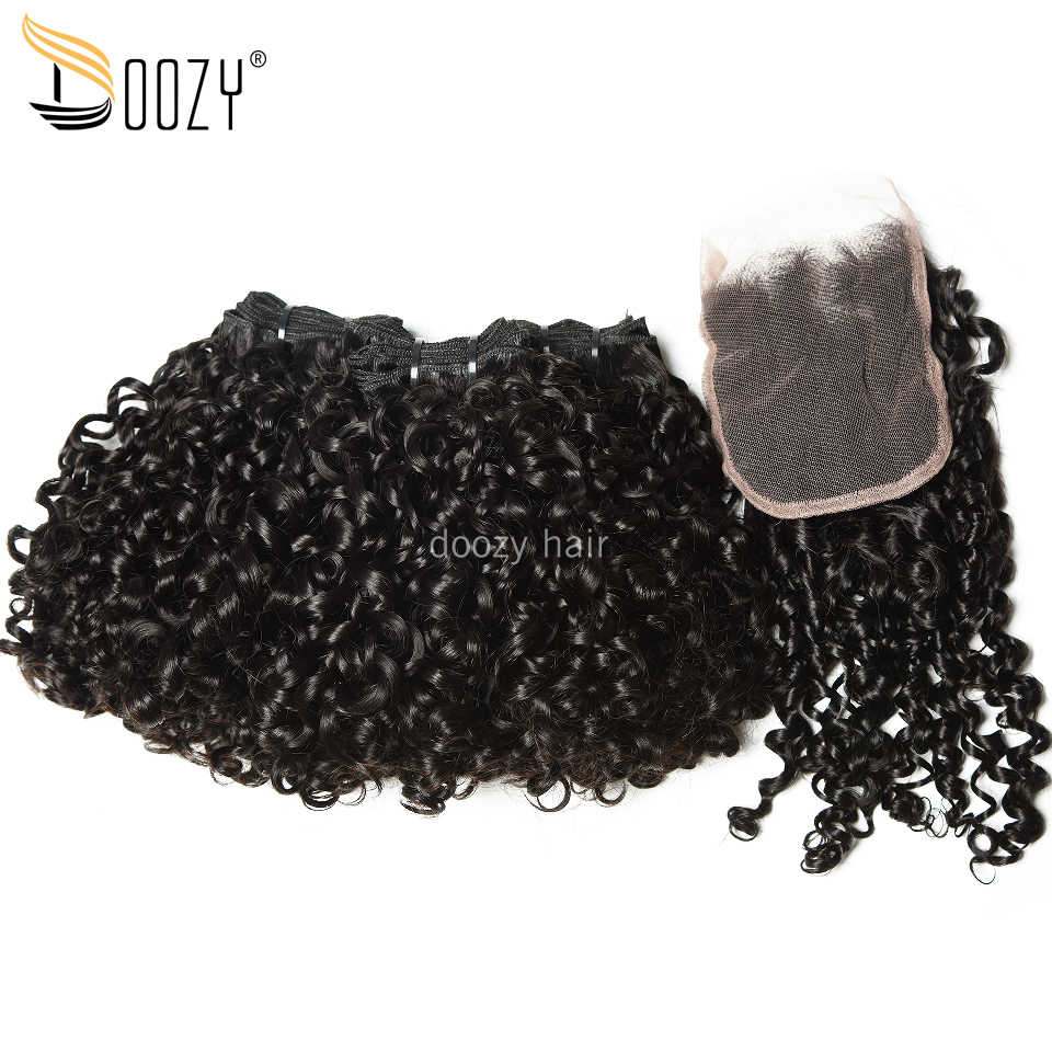 Doozy Peruvian Virgin Hair Natural Color Double Drawn Pixie Curly Funmi Human Hair 3 Bundles With Lace Closure