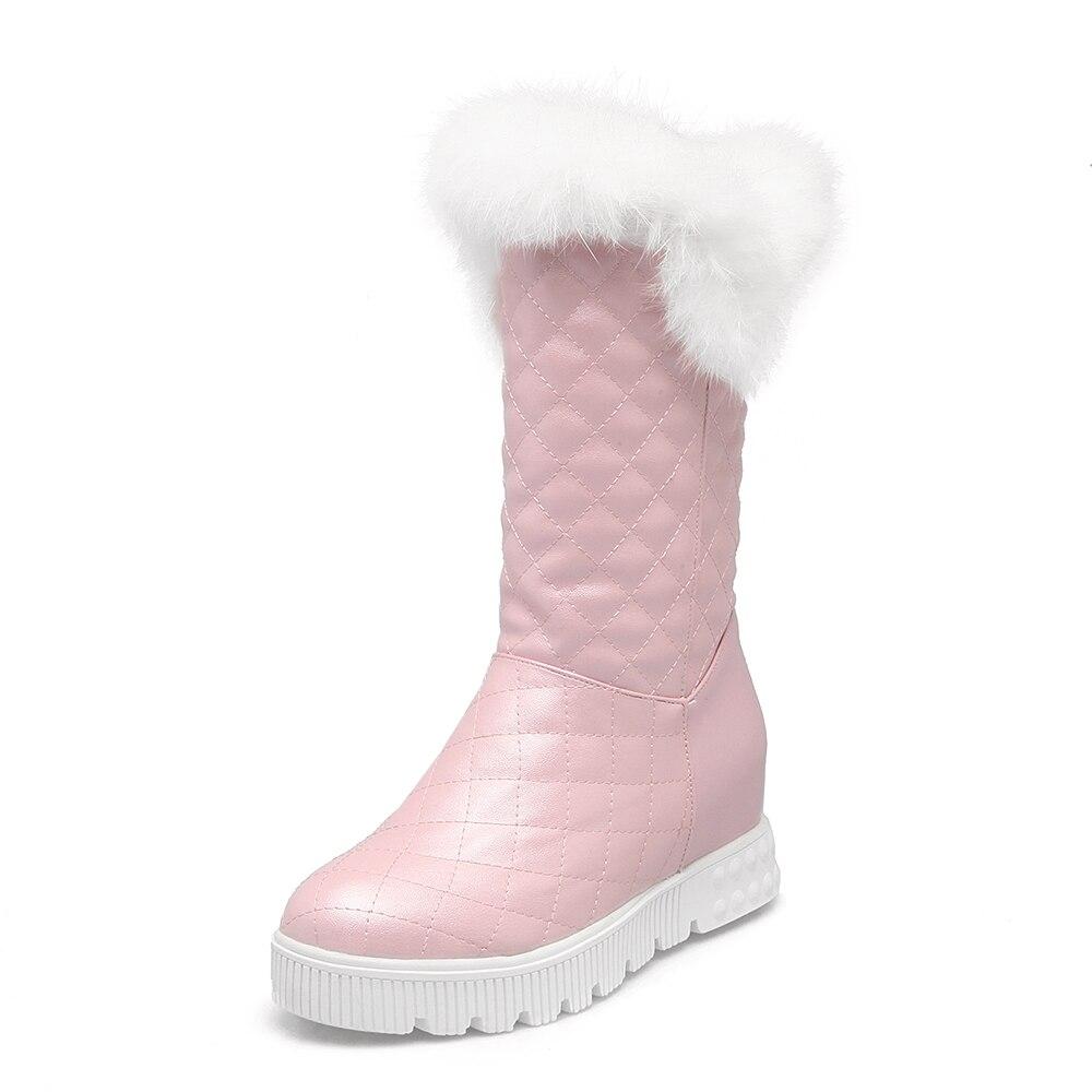 Chaud Noir Plat Neige D'hiver forme blanc Blanc Femmes Doux Cheville Chaussures Noir Rose rose Nouveau Bottes Plate Femme 8qHBBwSv