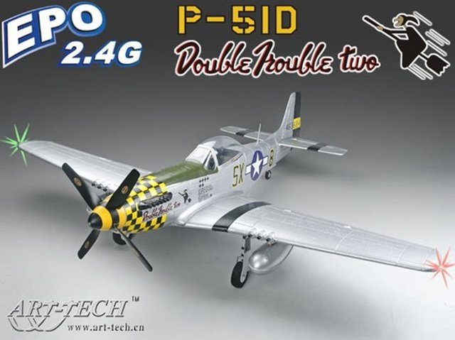 New! Art-tech 500Class P-51D Mustang R/C Model Airplane 6CH retractable landing gear RTF ready to fly jet with led light