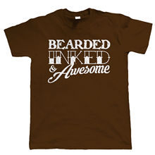 Bearded Inked & Awesome Mens Funny Beard T Shirt - Hipster Tattoo Gift for Dad Harajuku Tops t shirt Fashion Classic Unique