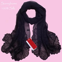 100% silk bandanas for muslim arabic foulard womens scarfs fashionable 2015 wholesale summer silk jewelry head scarves