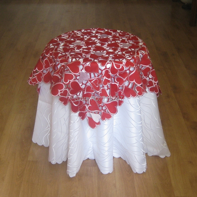 Attractive Hot Sale 85*85cm Elegant Embroidery Red Heart Table Cloth Topper  Embroidered Tablecloth Valentine Gift