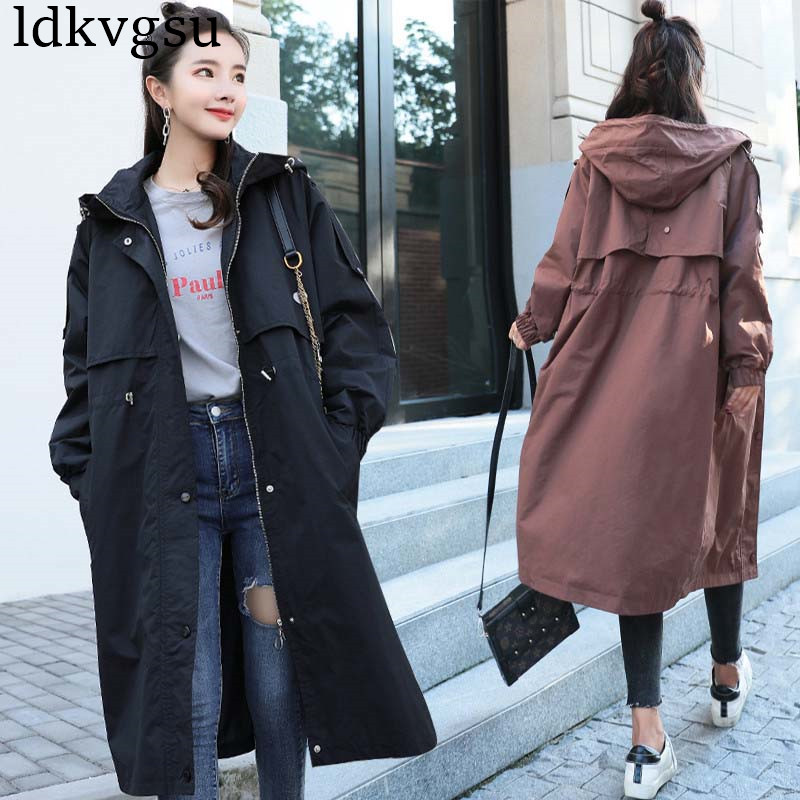 2019 New Fashion Autumn Winter Cotton Windbreaker Outerwear Women Long section Casual Hooded Spring BF Korean   Trench   Coat V280
