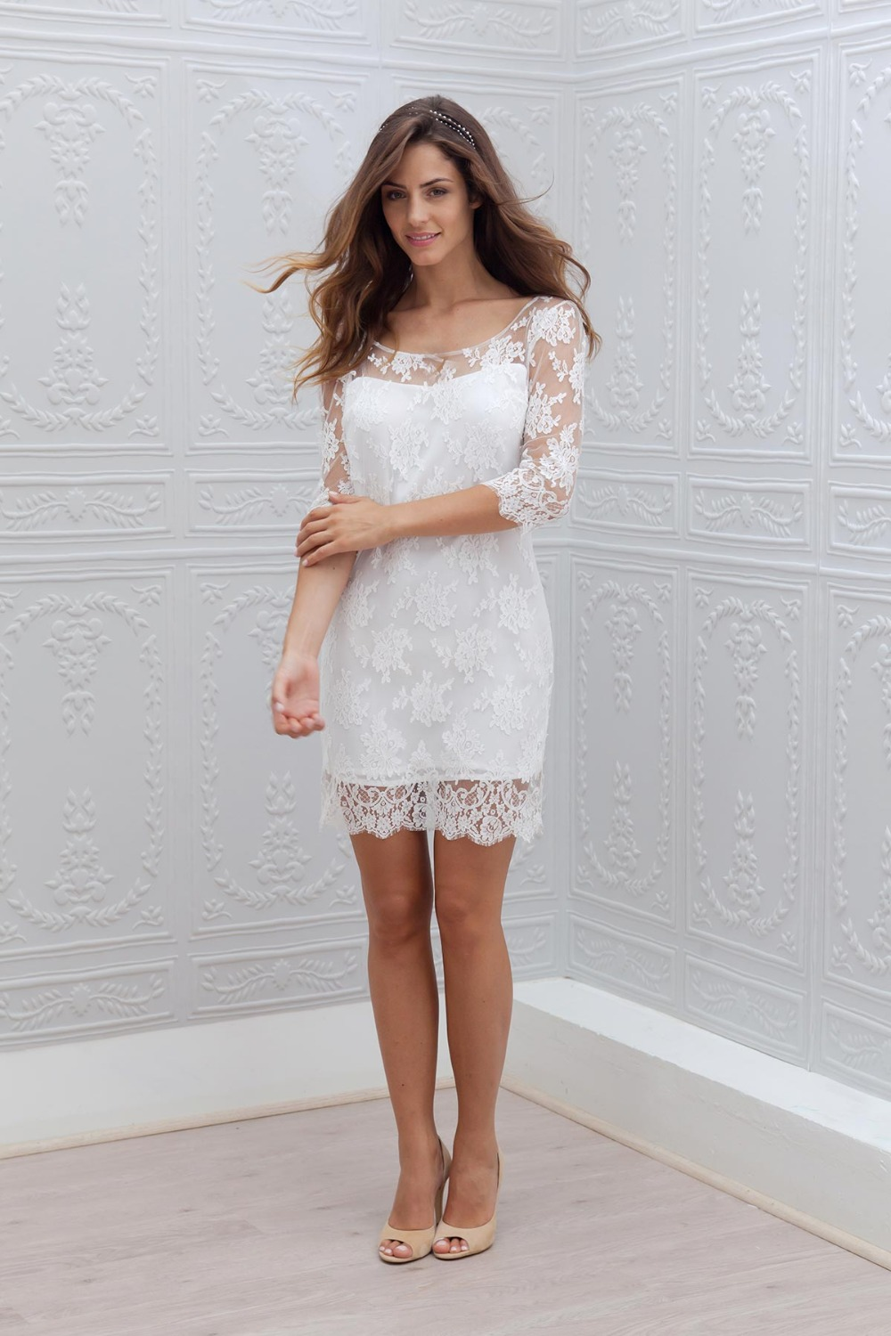 New Short Mini Sheath Fitted Informal Beach Lace Reception Boho Wedding Dresses Half Sleeves Modest Bridal Gowns Robe Boho Wedding Dress Bridal Gownboho Wedding Aliexpress