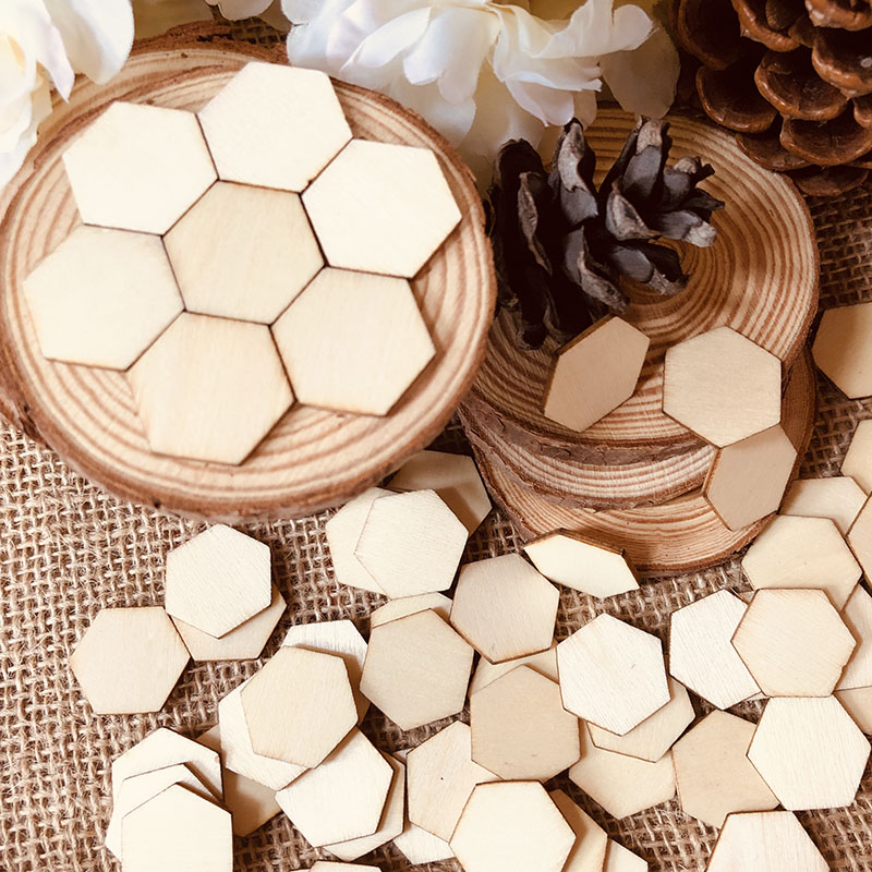 100pcs Unfinished Wood Laser Cut Out Honeycomb-like Hexagon Shape Natural Wood Pieces For Children Card Arts Crafts DIY