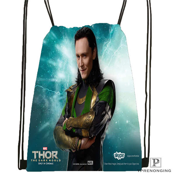 Custom Tom Hiddleston Loki Drawstring Backpack Bag for Man Woman Cute Daypack Kids Satchel Black Back