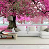 3D Wandmalereien Tapete Landschaft Kirschblüte Nach Tapeten Wald Landschaft Bettwäsche Wohnzimmer Sofa TV Hintergrund Papier Peint