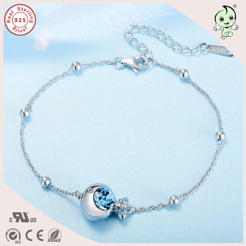 Popular Simple Design Gift Silver Jewelry Famous Crystals Fish ...