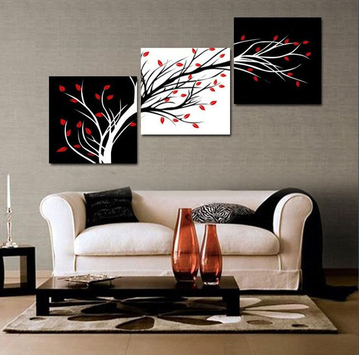 3 panel free shipping money tree modern wall art black and white decorative painting home decor print on canvas framed art t437