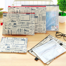 A4 A5 B5 3Pcs/lot Korea zipper multi-functional multi-layer Oxford Cloth PVC File Holder Stationery Document Bag School Supply