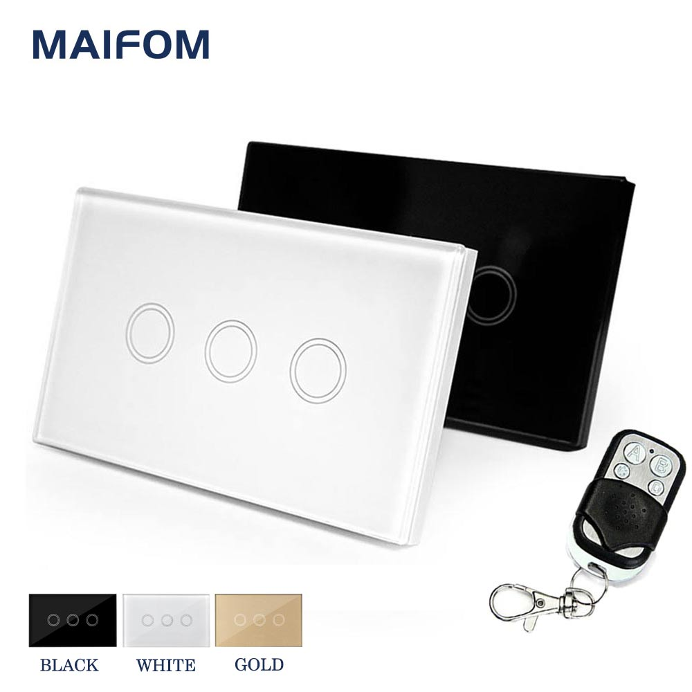 MAIFOM US Standard Touch Switch Wall Switch 3 Gang 1 Way Home Luxury  Glass Panel Light Switch 120*72mm Waterproof Free Shipping smart home uk standard crystal glass panel wireless remote control 1 gang 1 way wall touch switch screen light switch ac 220v