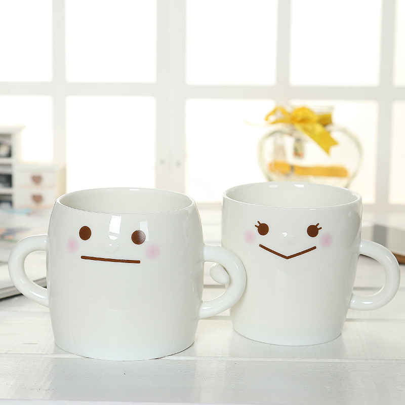 High Quality Home Office General Two Styles Available Expression CoupleCup Fashion Simple Gift Creative Ceramic Water Bottles