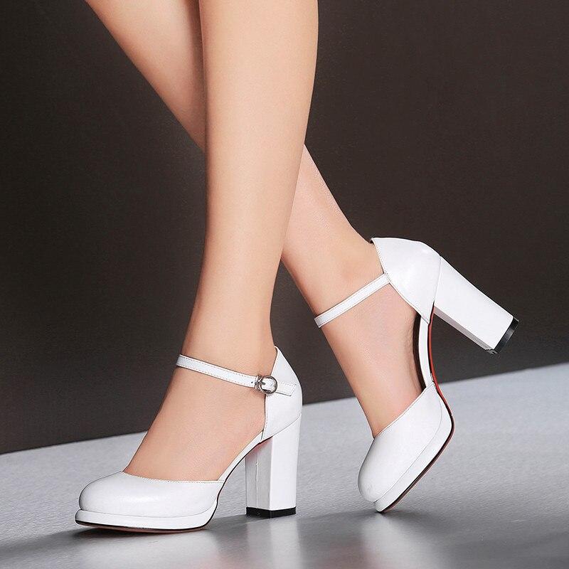 YMECHIC سيدة الصيف المرأة كتلة حذاء بكعب سميك جلد طبيعي ماري جين أحذية الكاحل حزام كعب عالٍ للسيدات مضخات أسود أبيض 2018-في أحذية نسائية من أحذية على  مجموعة 2