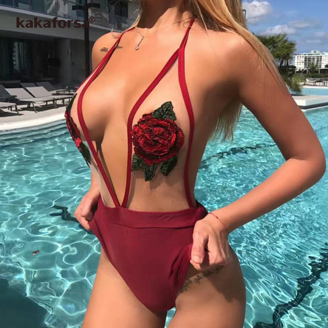 5ab9bbd41f9 Kakaforsa 2019 Sexy One Piece Swimsuit Rose Embroidery Women Swimwear  Halter Bandage Bathing Suit Swim Wear Monokini Beachwear