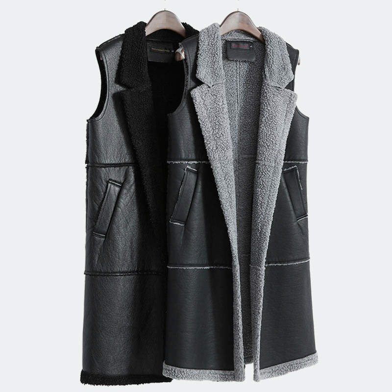 Women's Long Vest Pu Pockets Leather Lambswool Stitching 2018 Autumn Winter Thick Pockets Sleeveless Jacket Vest For Outerwear