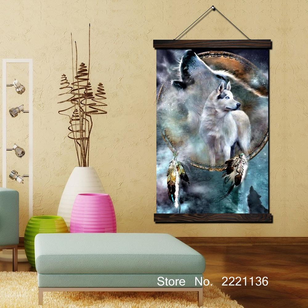 Wolf Picture Framed Scroll Painting HD Wall Art Hanging Canvas ...