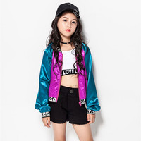 New Girls Jazz Korean Mixed Color Coat Dj Jacket Children Jazz Dance Costume Hip hop Performance Clothing Kids Stage Outfit