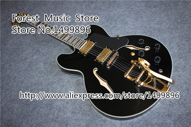 Hot Selling Hollow Body ES Electric Guitars China Gold Hardware ES Guitar With Bigsby In Stock wholesale cnbald 1959 custom signature electric guitar with bridge bigsby 20th anniversary in black 120323