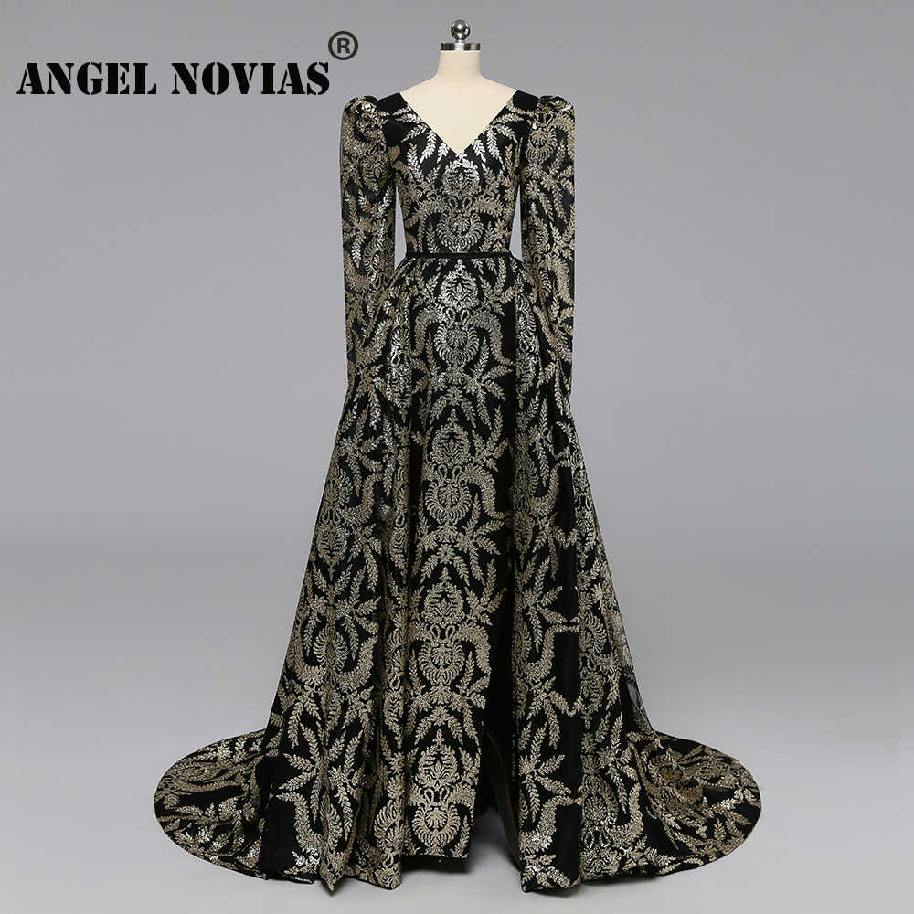 Angel Novias Long Sleeves Gold Glitters Black Luxury Arabic Abendkleider Evening  Dress 2019 with Detachable Skirt 5a12c38d6422