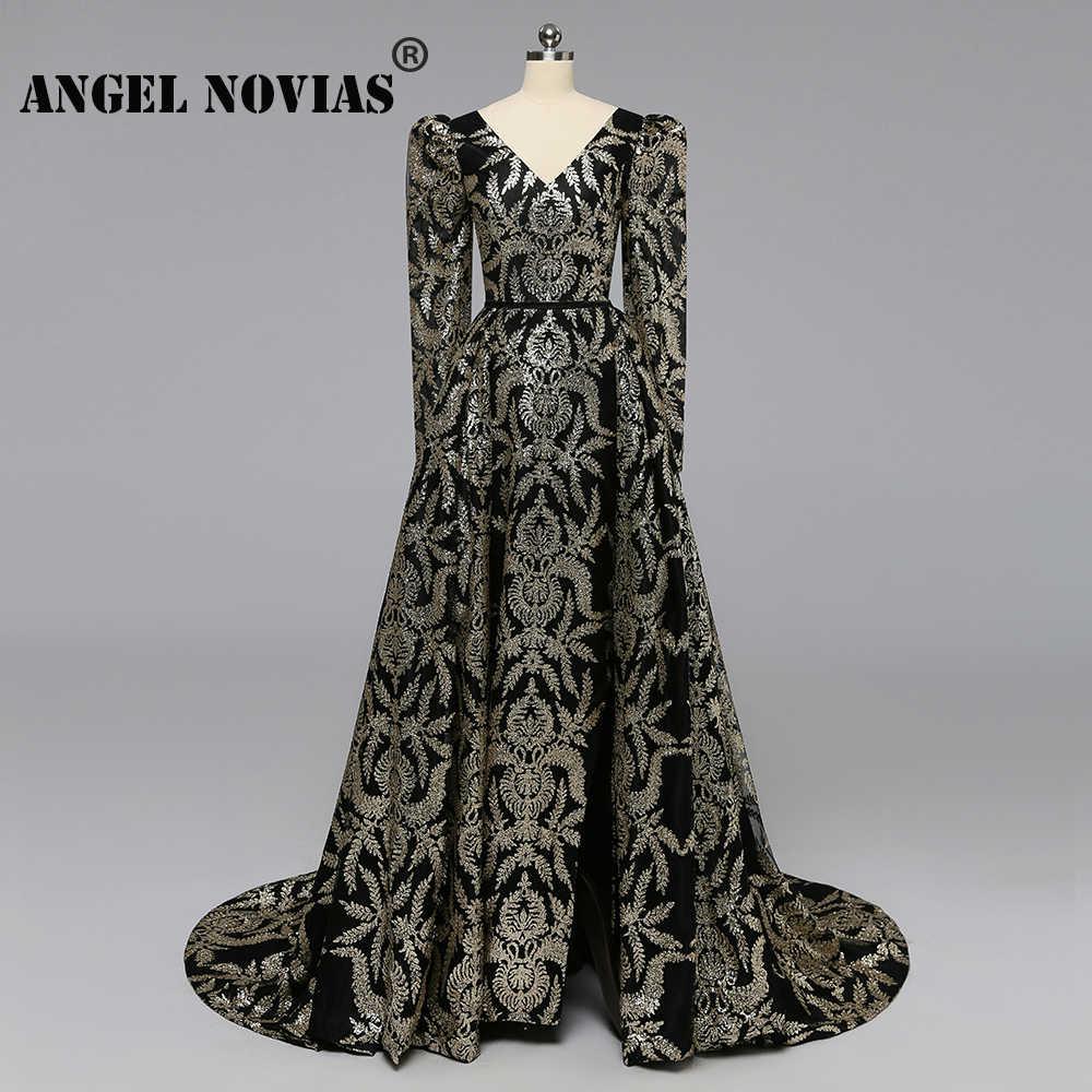 Ангел новиас с длинными рукавами золотые блестки черные роскошные арабские Длинные вечерние платья без рукавов платье 2019 со съемной юбкой