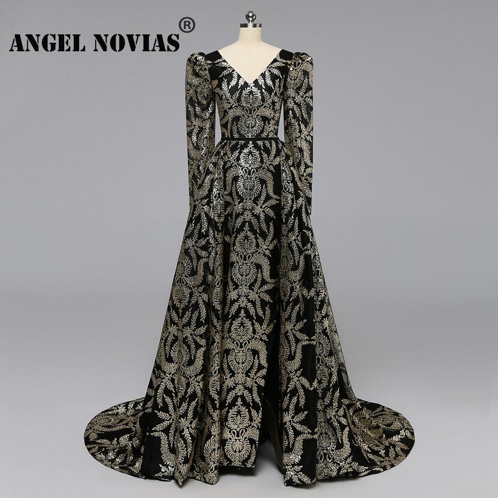 Angel Novias Long Sleeves Gold Glitters Black Luxury Arabic Abendkleider   Evening     Dress   2019 with Detachable Skirt