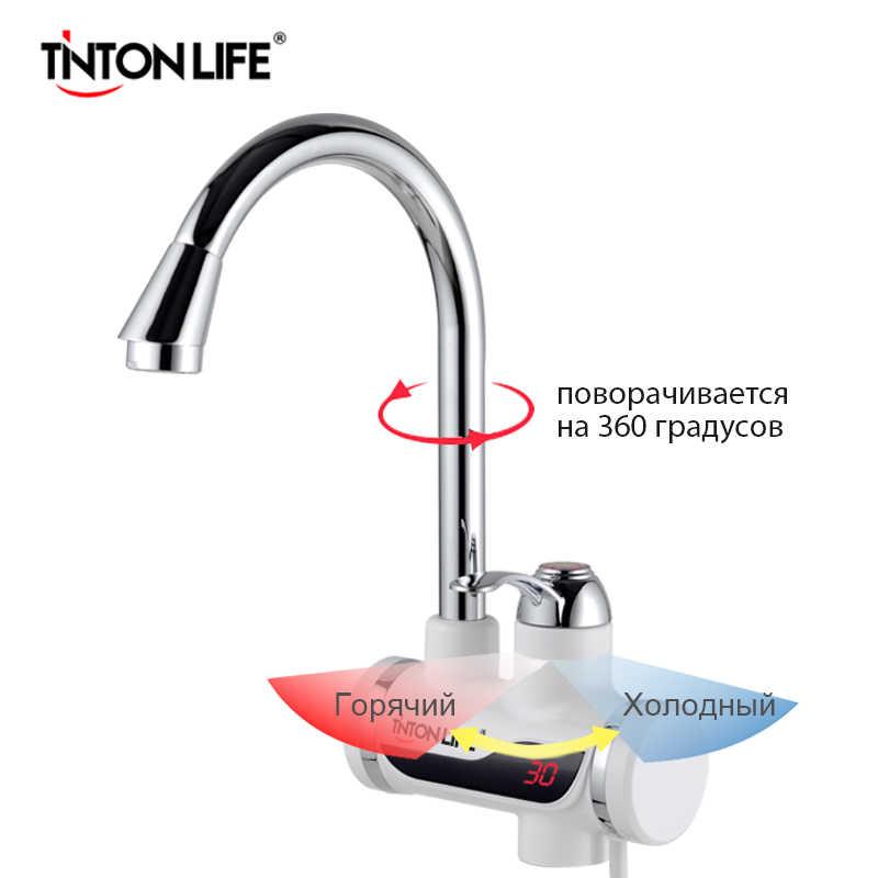 TintonLife EU プラグタンクレスインスタント蛇口水ヒーターインスタント温水器タップキッチン給湯クレーン LED デジタル