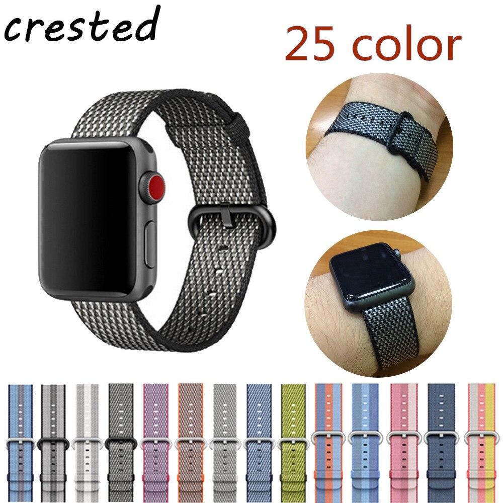 CRESTED Woven Nylon für apple uhrenarmband 42mm 38mm sport stoff nylon armband armband für iwatch 3/2/1 schwarz