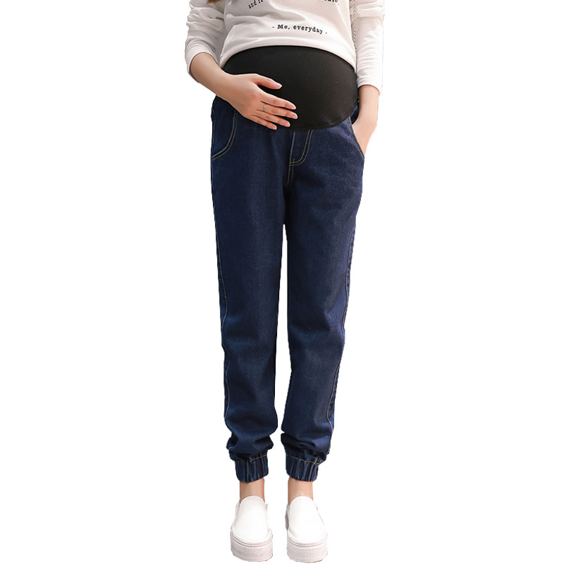 Loose Casual Denim Pants Maternity Jeans For Pregnant Women Clothes Prop Belly Pregnancy Jeans Abdominal Trousers Gravidas ormell women fashion blue denim loose wide leg pants jeans low waist stylish hole casual streetwear trousers pantalones