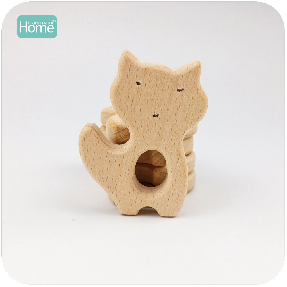 MamimamiHome Baby Rattles 5pc Wooden Fox Can Chew Beech Wooden Play Gym Accessories Toy For A Stroller Baby Montessori Toy ...