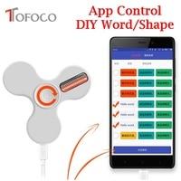 TOFOCO New Flash App Control LED Word Lighting Fidget Spinner Plastic Hand Spinners Smart Figet Spiner