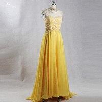 RSE843 Кепки рукава Высокая декольте спинки Желтый платье для выпускного вечера Mezuniyet Elbiseleri