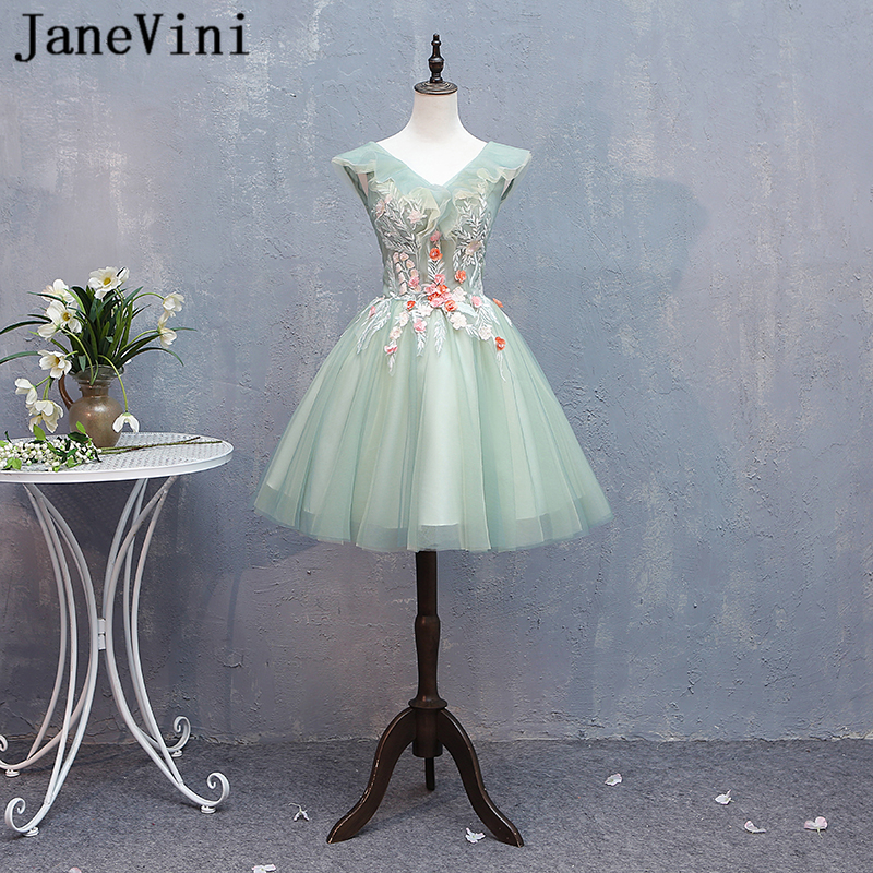 JaneVini Charming A Line Short   Prom     Dresses   Plus Size V Neck Appliques Pearls Backless Mini Tulle Formal Gowns Gala Jurken Dames