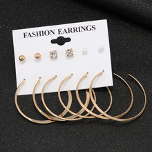 6 Pasang/Set Fashion Emas Perak Anting-Anting Wanita Punk Analog Mutiara Kristal Hati Telinga Kancing Pesta Anting Perhiasan Wanita Suit(China)