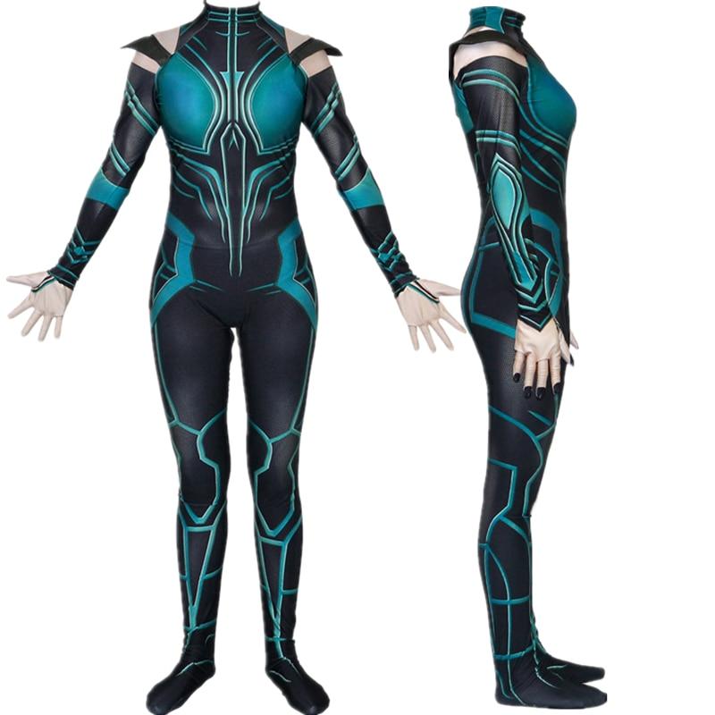 US Unisex Thor3 Ragnarök Hela Halloween Zentai Cosplay Costume Spandex Jumpsuit