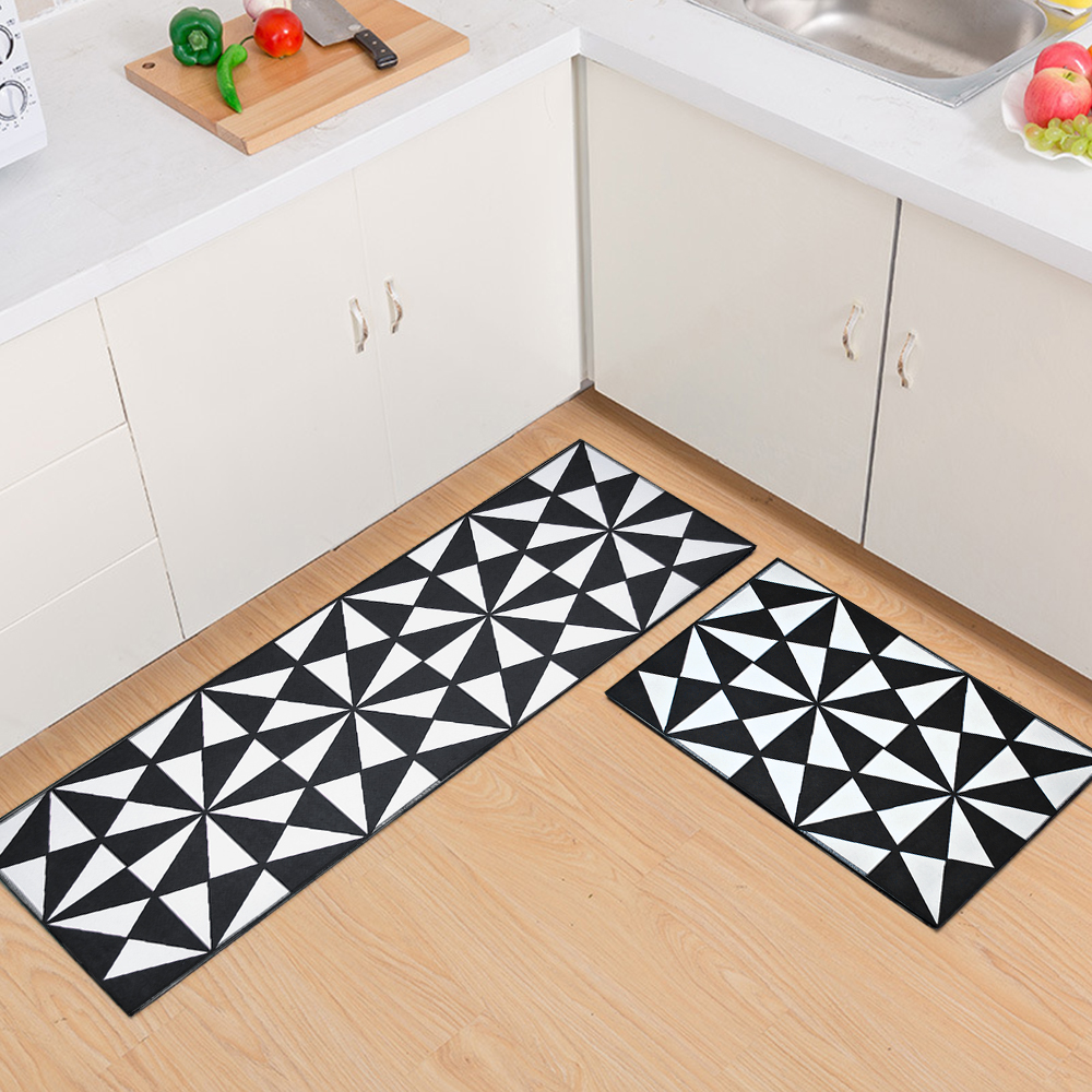 White Kitchen Floor Mats: RAYUAN Flannel Black And White Geometric Kitchen Floor