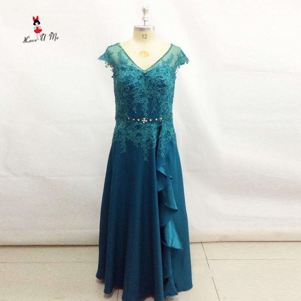 Türkis Plus Size Mutter der Braut Spitze Kleider Kappe hülsen Perle ...